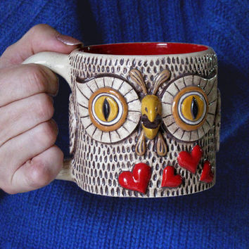 OOAK OWL MUG Unique Romantic Valentine' Day Gift Large Ceramic Entirely Handmade Cofee Tea Cup / red hearts brown yellow mustard caramel
