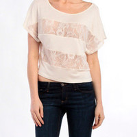 Stitched Floral Top in Cream