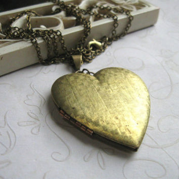 Vintage heart locket necklace - with long brass chain