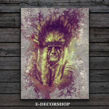 American Indian Canvas ART Print | Native American Chief Canvas Painting | home decor art print