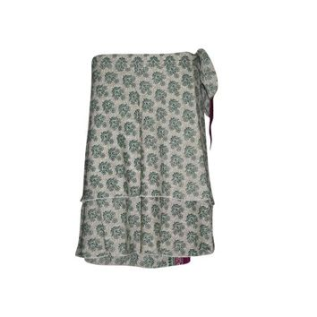 Mogul Wrap Around Skirt Two Layer Reversible Green Printed Premium Magic Short Wrap Skirts - Walmart.com