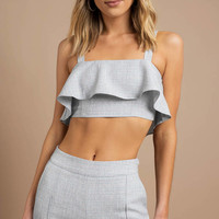 Half Of My Heart Ruffle Crop Top