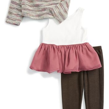 Pippa & Julie Knit Sweater, Peplum Tank & Leggings Set (Toddler Girls & Little Girls) | Nordstrom
