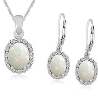 Opal Earrings and Pendant Set in Sterling Silver