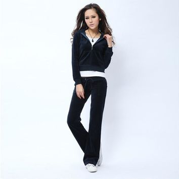 Juicy Couture Pure Color Velour Tracksuit 6047 2pcs Women Suits Navy