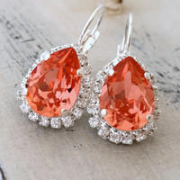 Peach pink coral crystal teardrop earring, Drop earring, Swarovski Halo Earring, Bridal earring, Bridesmaid gift, Dangle earring Silver gold