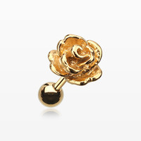 Golden Steel Rose Cartilage Earring