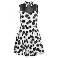 White And Black Daisy Print Skater Dress