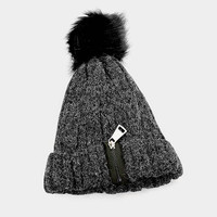 Women's Black Soft Knit Fluffy Fur Pom Pom Zipper Detail Beanie Cap Hat