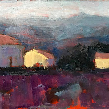 ALL AGLOW - California -5 x 7 - Oil Painting - Wall Hanging - Cottage Chic - Flowers - Purple - Houses - Lavender - Blue - Gift Idea