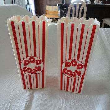Vintage Red And White Stripe Plastic Popcorn Containers Set Of 2 Popcorn Boxes Reusable Popcorn Buckets Movie Theater Buckets