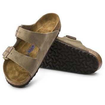 Sale Birkenstock Arizona Soft Footbed Suede Leather Taupe 0951301/0951303 Sandals