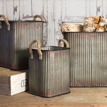 Set of Three Corrugated Metal Storage Bins with Jute Handles