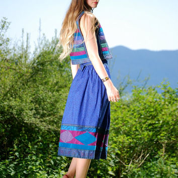 70s Patchwork Vest 2 Piece Set Hippie Boho Crop Top + High Waist Peasant Skirt, Blue Purple Green Two Piece Outfit Ethnic Striped Folk Skirt