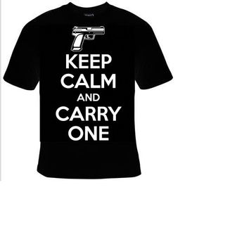 keep calm and carry one gun t shirt ,funny cool statement humor tee shirt, t-shirts