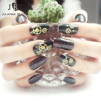 24pcs Punk 3D Metal Fake Nail Tips With Glue Magic Effect Artificial ABS False Nail Tips Accessories Machine Style