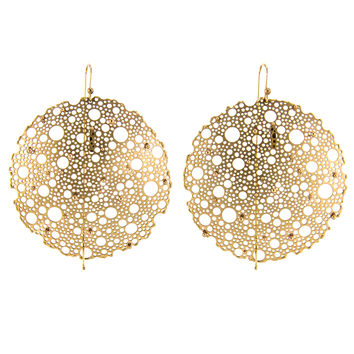 Ted Muehling Gold Lace Earrings