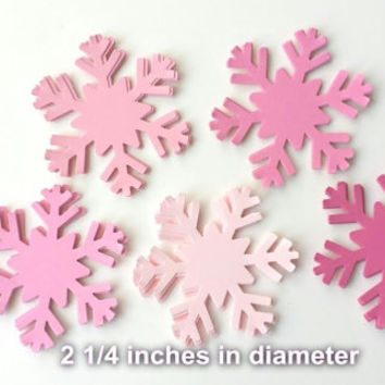 30 Pink Snowflakes, Pink Snowflake Die Cut, Pink Frozen Birthday, Frozen Party, Winter ONEderland Party