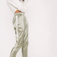 Shannon Sage Green Satin Side Stripe Boxer Joggers