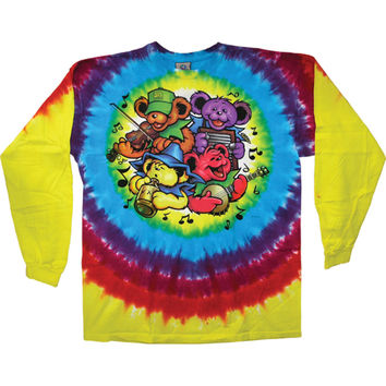 Grateful Dead Men's  Bear Jamboree Tie Dye  Long Sleeve Multi