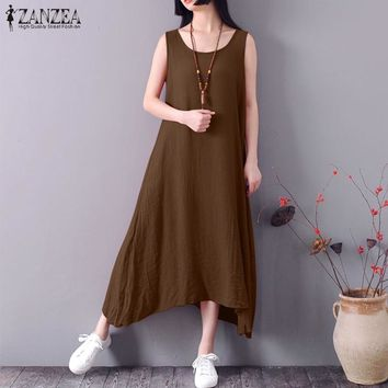 2018 ZANZEA Women O Neck Sleeveless Loose Long Dress Solid Summer Cotton Linen Beach Party Vestido Vintage Baggy Sundress S-5XL