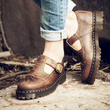 Single Shoes Sandals Round Toe Ankle Hasp Carved Vintage Punk Cut Out Brown Women Summer Boots Solid Color Cuban Heel Stylish