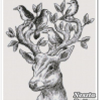 Deer pattern Cross Stitch Pattern,Deer x stitch pattern, Cross stitch Embroidery, Embroidery pattern
