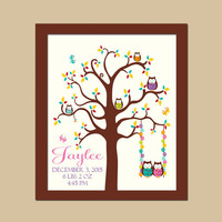Owl Tree Girl Nursery Wall Art Birth Announcements, Newborn Baby Gift, Birth Stats, Bird Tree Bedroom Art, CANVAS or Prints Gift Shower Gift