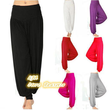 Modal Women Ladies Solid Harem Sport Flare Pants Belly Elastic high Waist Dance Club Boho Wide Loose Long Trousers fitness K044