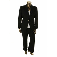 Tahari ASL Womens Petites Frankie Textured Fitted One-Button Suit