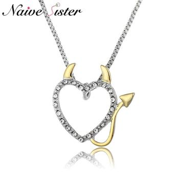 Hot Gold and Silver Plated Love Heart Accent Devil Heart Pendant Necklaces Jewelry for Women Ladies Cute Crystal Gifts