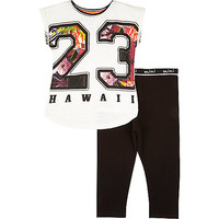 River Island Mini girls Hawaii top and leggings outfit