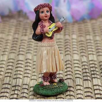 Hula Girl Ukulele Hawaiian Mini Dashboard Doll