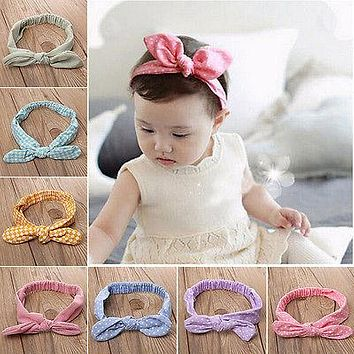 New Fashion Toddler Infant Kids Baby Girls Striped Plaid Geometric Headband Hair band Bow-Knot Hair Band Accessories