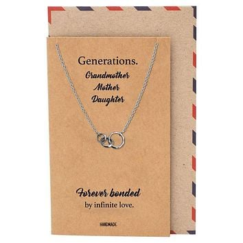 Kiera 3 Generation Rings Pendant Necklace, Gifts for Grandmother, Mother and Daughter with Greeting Card