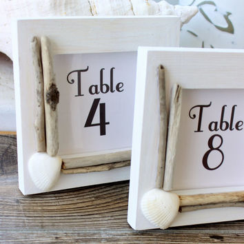 Coastal Wedding , Simple White Driftwood and Shell Beach Wedding Table Number Frames , Reception Decor