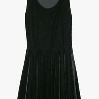 Black Velvet Fit + Flare Sleeveless Mini Dress