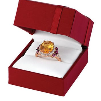 Levian 14K Strawberry Gold Cinnamon Citrine Ring with Raspberry Rhodolite and White Topaz