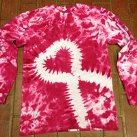 Pink Breast Cancer Awareness Tie-dye T-shirt with Heart, Breast Cancer Shirt, Pink Ribbon
