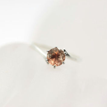 Pink Oregon Sunstone Ring - Oregon Sunstone Sterling Silver Solitaire Ring - Oregon Sunstone Unique Gemstone Engagement Rin