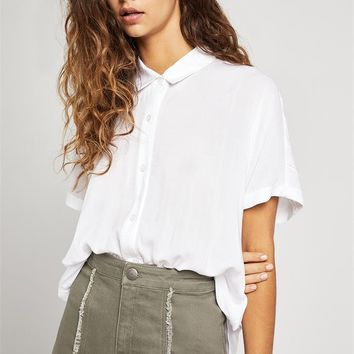 Women's BCBGeneration Button Down Top with Wrap Hem