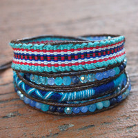 5 times Blue beaded mix Wrap bracelet with Woven