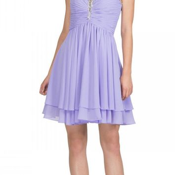 Lilac Homecoming Short Dress Ruched Bodice