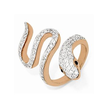 Sterling Silver Rose Gold-Plated Black & White CZ Snake Ring