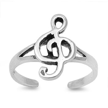 Sterling Silver Musical Note Bliss 12MM Toe Ring/ Knuckle/ Mid-Finger