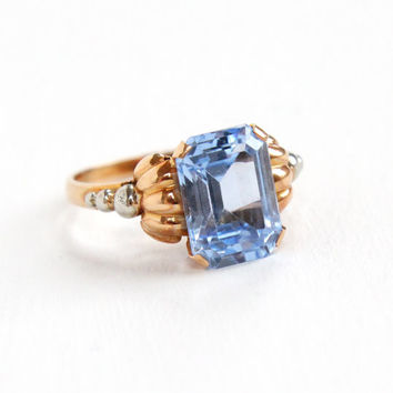 Vintage 14k Rose Gold Created Spinel Ring - Size 7 1/4 Emerald Cut Simulated Aquamarine Light Blue Stone White Gold Accent Fine Jewelry