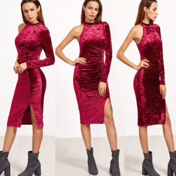 Burgundy One long Sleeves Slit velvet Pencil dress B0016475