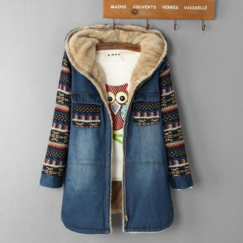 2016 Fashion Women Warm Thick Loose Wool Winter Coat Padded Denim Casual Print College Coat Winter Coat Women Parka Women Jacket