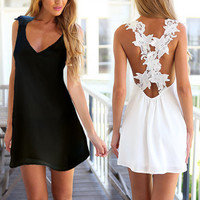 2017 Women Summer Style Dress V Neck Backless Lace Crochet Chiffon Beach Mini Dresses Plus Size Vestido Sundress Black White 3XL