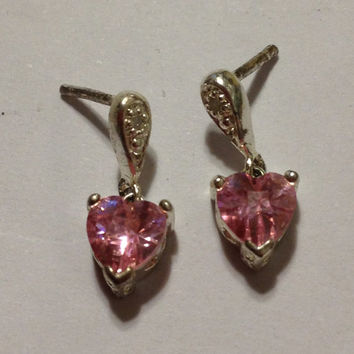 Diamond Pink Topaz Earrings Hearts 925 Sterling Silver Kay Jewelers Vintage Jewelry Christmas Holiday Mother's Birthday Anniversary Gift